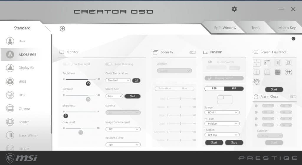 Creator OSD 1024x561 - Monitor UltraWide MSI Prestige PS341WU – świetne rozwiązanie dla twórców i managerów